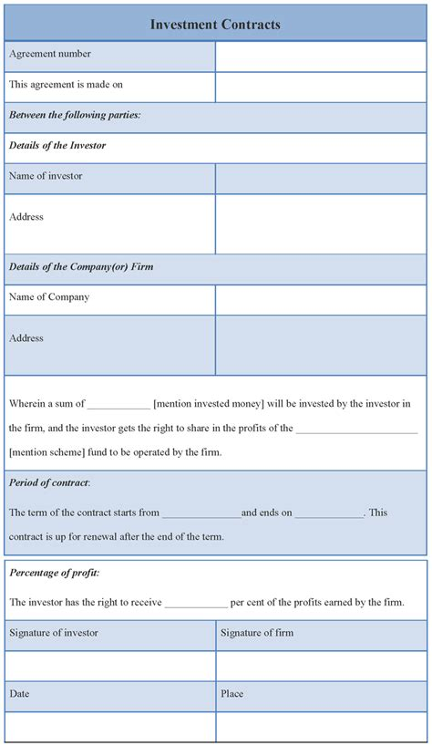 investor template contract template for investment template of investment