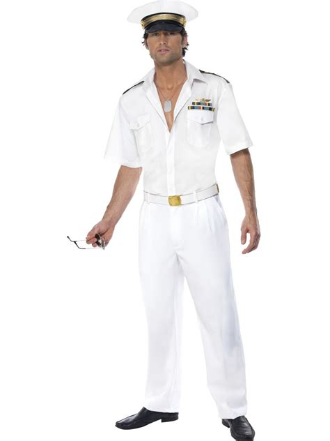 Top 8 Fancy Dress Costumes To Wear by Mens Top Gun Captain Navy Officer 1980s Fancy Dress