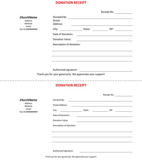 Donation Receipt Download Church Donation Form Template