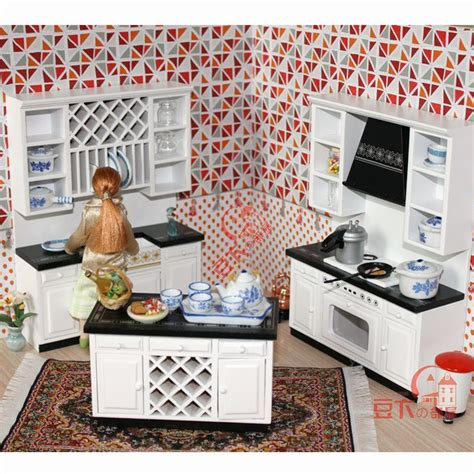 1 12 miniature home furniture mini toy kitchen room set 1 12 scale wooden dollhouse miniature kitchen room
