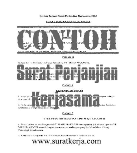 contoh surat perjanjian kerjasama terbaru 2013 surat kerja