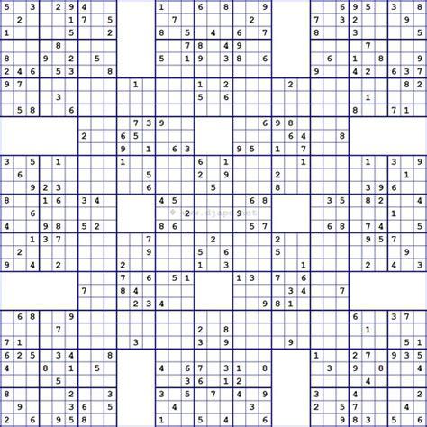 printable triple sudoku super samurai sudoku 13 grids sudoku pinterest samurai