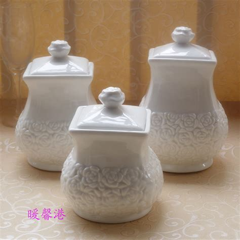 3pcs porcelain enamel kitchen canister set coffee sugar