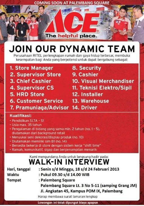 ace hardware palembang walk in interview ace hardware karir palcomtech
