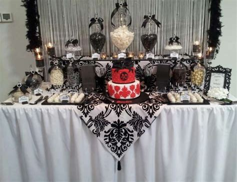 Black And White With A Touch Of Red Lolly Buffet Black And White Buffet