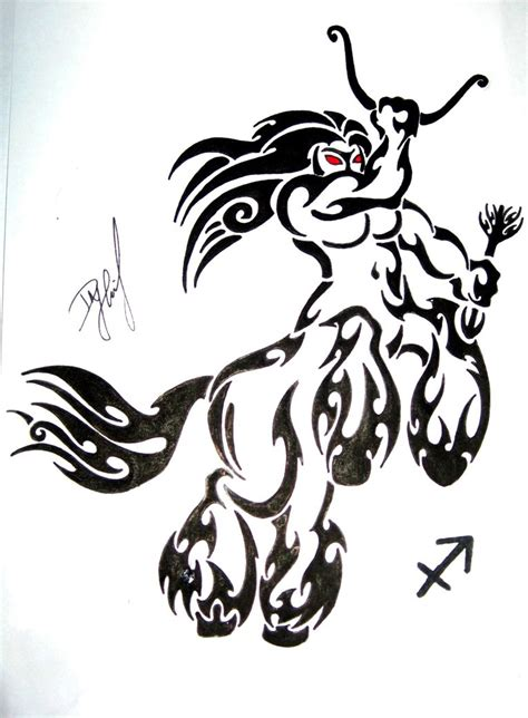 tribal zodiac leo and sagittarius tattoo designs
