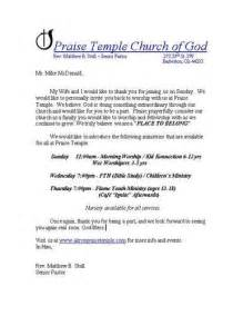 Free Church Letter Templates First Time Visitor Follow Up Letters
