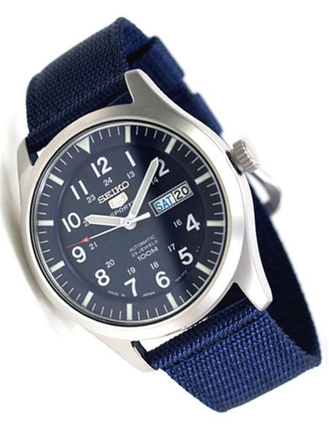 Seiko Military Blue Dial Automatic Watch with 42mm Case