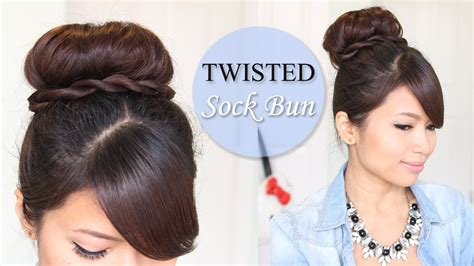 hairstyles sock buns twisted sock bun updo hairstyle long hair tutorial love