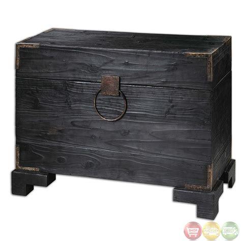 black satin finish carino black satin finish wooden storage trunk 24305