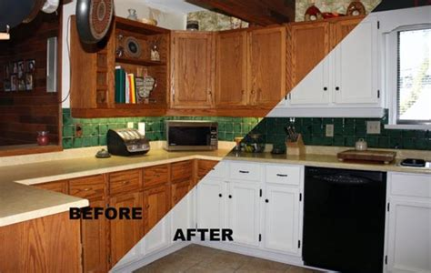 Before After Painting Old Kitchen Cabinets Modern Kitchens Painted Cabinets Before And After