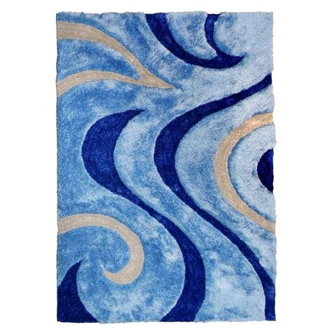 Swirl Area Rug by Donnieann 3d Shaggy Abstract Wavy Swirl Design Blue 5 Ft