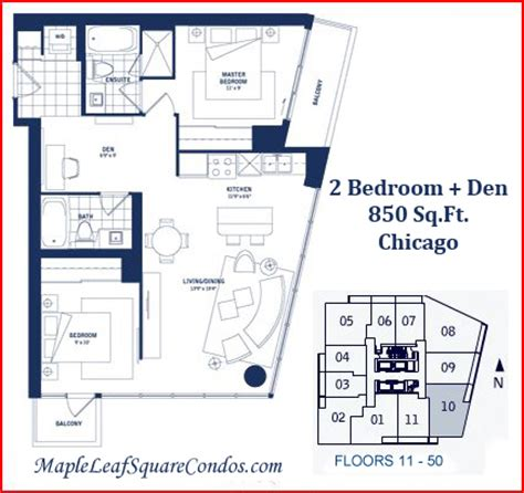 2 bedroom den maple leaf square floor plans