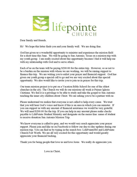 missions support letter template sa mission trip 2015 donation letter by charles bernal issuu