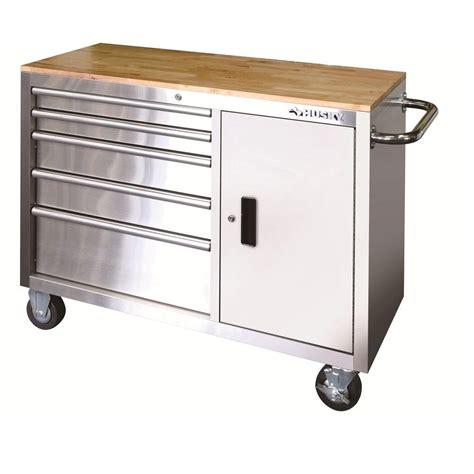 husky work bench husky 46 in 5 drawer and 1 door stainless steel silver