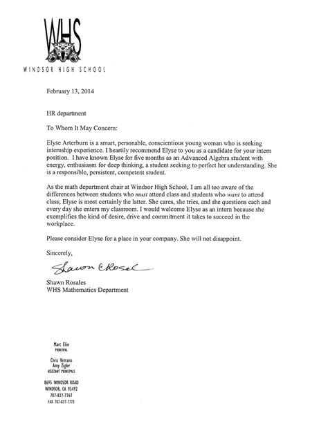 College Letter Of Rec Letters Of Rec Elyse Arterburn