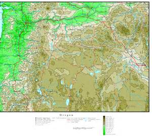 a map of oregon oregon elevation map