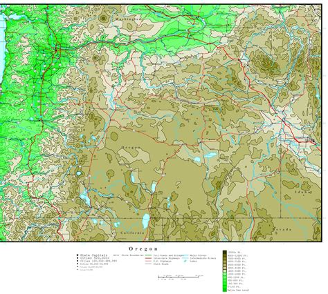 3d topographical map of oregon oregon elevation map