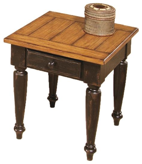 Country End Tables And Coffee Tables Country Vista Country Antique Black Oak Wood End Table Traditional Side Tables And End