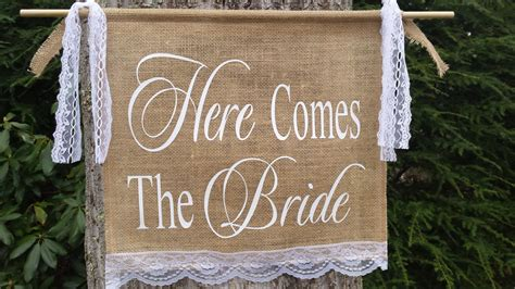Burlap Wedding Banner Here Comes The by Here Comes The Burlap Banner Burlap And Lace Burlap