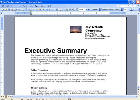 executive business plan template business plan executive summary