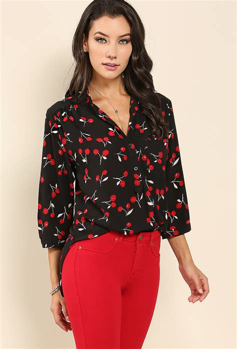 Blouse Chery White cherry print collarless blouse shop blouse shirts at