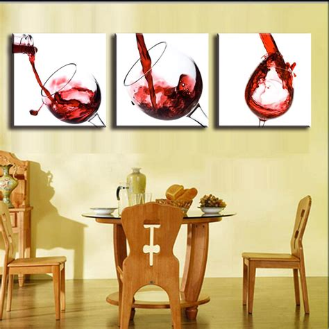 3 pictures framed canvas painting home decor wall painting for dining room wine and goblet