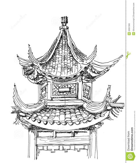 chinese temple drawing stock photo image 28351300