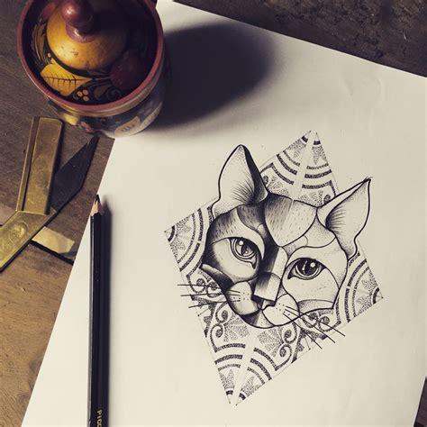 pattern cat tattoo miss sita tattoo instagram misssita cat illustration