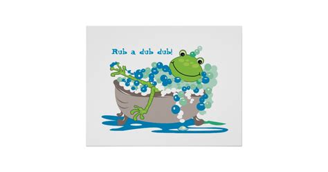 frog in bathtub frog in tub kids bathroom art frog bathroom poster zazzle
