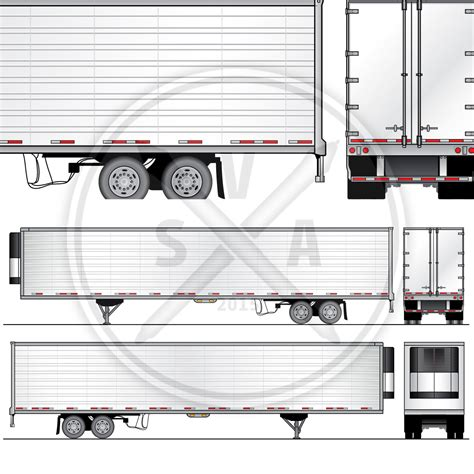53 Reefer Trailer Design Template Stock Vector Art Trailer Wrap Design Templates
