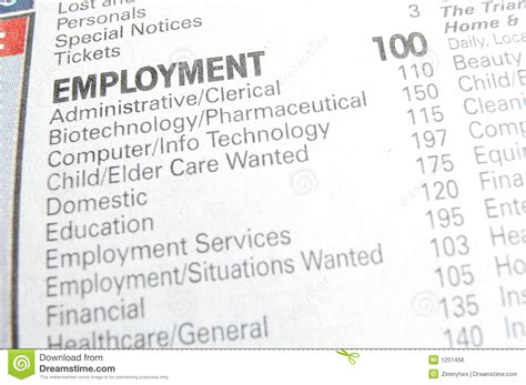 employment section of newspaper job section royalty free stock image image 1251456
