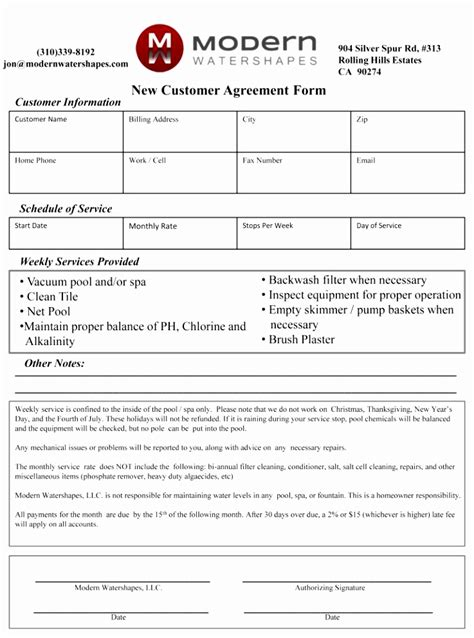 pool service contract template 6 pool service contract template rerei templatesz234