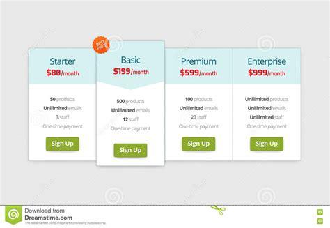 Web Pricing Table Design Royalty Free Stock Photo Cartoondealer Com 62756715 Website Design Strategy Template
