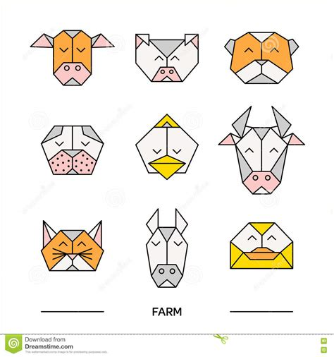 origami farm animals farm animal triangular icon set vector illustration