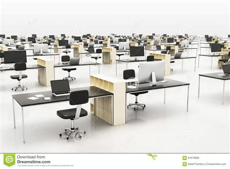 modern openspace office with furniture stock illustration