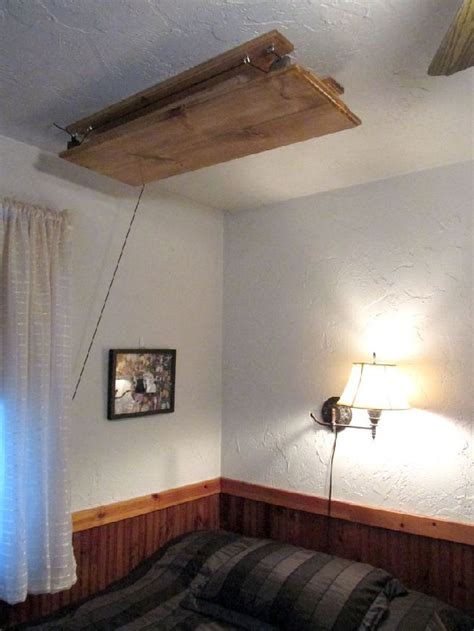 diy hanging bed table can move up via its pulley system