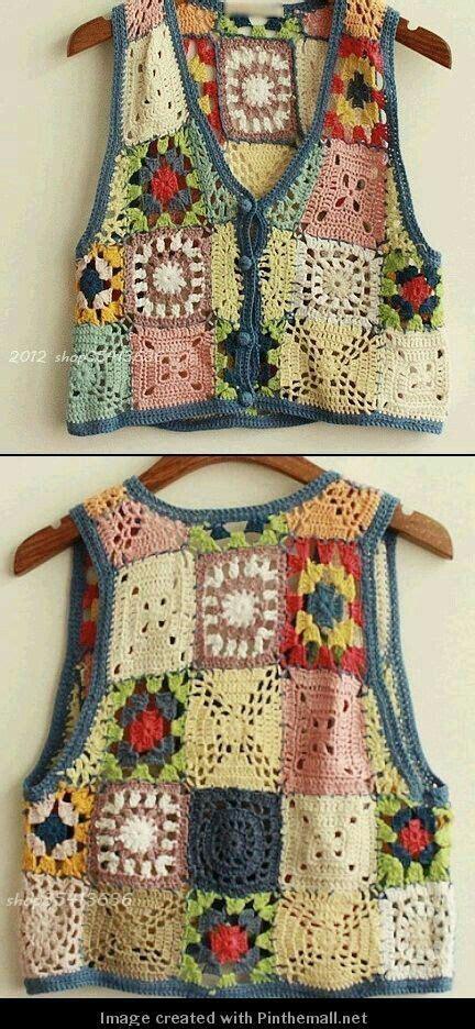tejido de estolas sencillas chaleco cuadraditos cuadrado colores multicolor