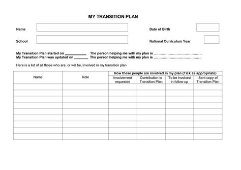 project transition plan template free best free home