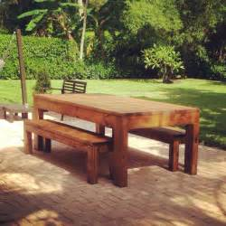 Rustic Wood Dining Table With Bench Outdoor Indoor Rustic All Wood Dining Table W Benches Rustic Dining Tables Other Metro