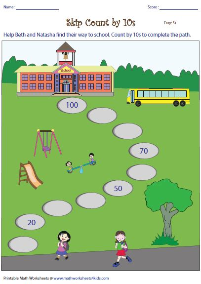 skip counting by 10 worksheets skip counting by 10s worksheets