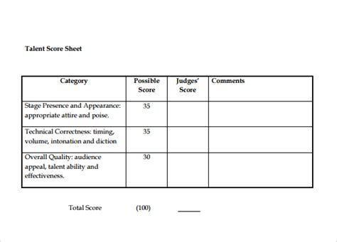 sle talent show score sheet 8 documents in pdf