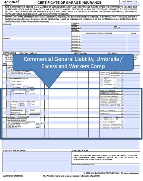 Garage Liability Insurance Cost by Simply Easier Acord Forms August 2014