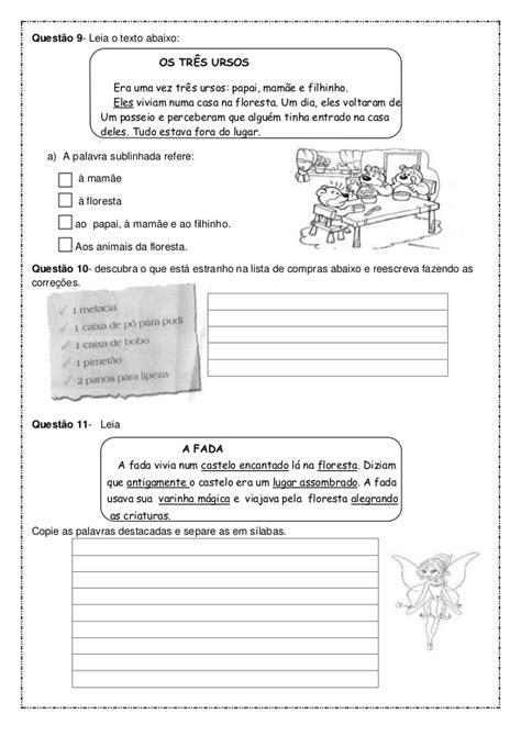 Prova português para o 2º ano