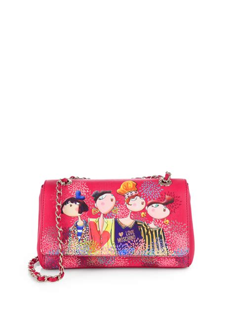 Moschino Ribbon Shoulder Bag by Lyst Moschino Girlsprint Chain Shoulder Bag In Pink