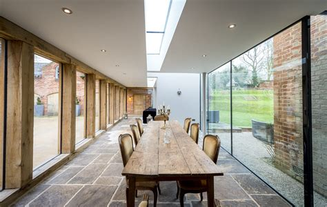 contemporary oak glass extension  listed house leaf