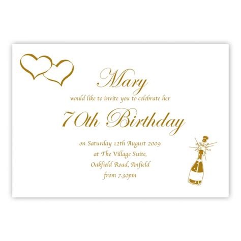 70th birthday invitation card template 70th birthday invitations wording drevio