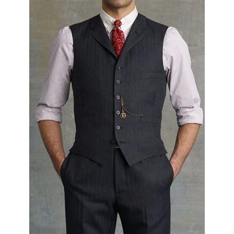 Lapel Vest lyst rrl herringbone lapel vest in gray for