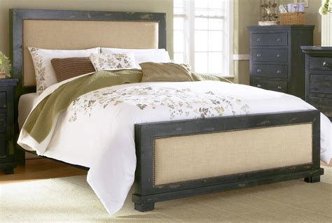 Upholstered King Bed Sale Willow Distressed Black King Upholstered Bed From