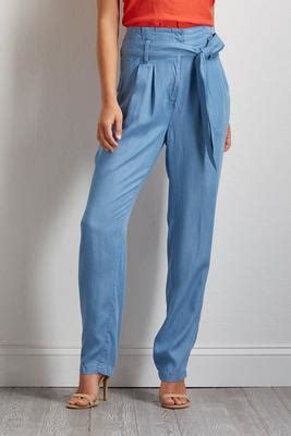 Tie Waist Chambray Pant s boutique bottoms versona